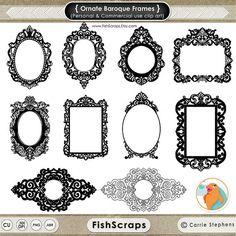 Cadre Baroque orné Clip Art - cadre numérique gothique - PNG ClipArt & brosses Photoshop inclus - timbres numériques - Silhouettes