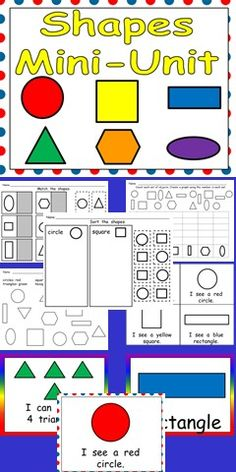 Are you looking for materials to help your students learn about shapes? This unit may be the answer!!    This packet includes practice pages, emergent reader little books, shared reading texts, flash cards, student awards, and classroom posters.   Practice pages include matching shapes, sorting based on shape, graphing shapes, and identifying shapes by coloring according to a code. $