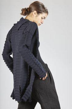 Haat | long cardigan in cotton garter, nylon and polyurethane with horizontal zig-zag patterns | #Haat
