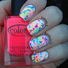 hairspray/water marble trick and Color Club's Neon polishes! - ✧ ➳ amkuch15