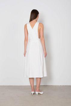 White Pin Striped Wrap Dress F08   Back