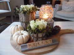 I love the scrabble letters Thanksgiving Decorations, Seasonal Decor, Fall Decor, Table Decorations, Autumn Decorations, Fall Crafts, Diy And Crafts, Deco Originale, Fall Table