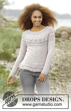 Crystal Bright by DROPS Design. Very pretty jumper with round yoke and textured pattern on yoke. Free #knitting pattern