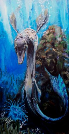 """Tylosaurus Reef. Oil on canvas.  See the """"Making of"""" post here:  http://glendonmellow.blogspot.ca/2011/03/making-of-tylosaurus-reef.html"""