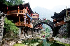 Dehang, Hunan, China photographed by Yves Andre Places Around The World, Travel Around The World, Around The Worlds, Places To Travel, Places To See, Monte Fuji, China Architecture, Asia Travel, Vacation Trips