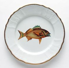 Anna Weatherley-Antique Fish Gold/Blue Stripes Dinner Plate ($318)