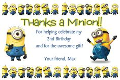 Minion Thank You Card. Click on the image twice to place orders or follow me on facebook. or email me at the address in BIO.