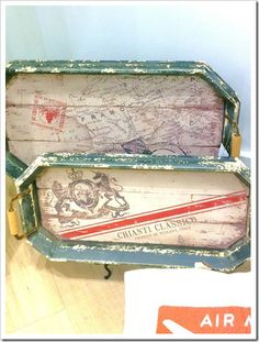 vintage tray effect  I'm thinking ... tea-stain a map, then add a few stamps? Love these.