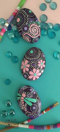 Hand Painted Rocks - Dragonfly Art - Painted Stones - Rock Art - purple gloaming collection Trio #35 - $28 - FREE SHIPPING! ethereal & earth - otherworldly & of this world creations!