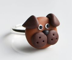 Dog Face Ring, Polymer Clay, Fimo, Animal, Puppy, Child Jewellery £6.00