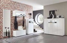 Entrata moderna Ines 2, mobili per corridoio o ingresso finitura bianco lucido