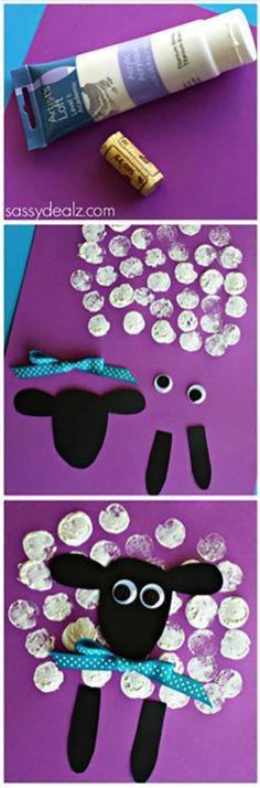 Sheep Craft Using a Wine Cork as a stamp! craft craft for kids… Sheep Crafts, Farm Crafts, Daycare Crafts, Sunday School Crafts, Classroom Crafts, Toddler Crafts, Projects For Kids, Diy For Kids, Preschool Crafts