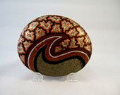 3 D Art Object, Hand Painted Rock, Signed Numbered, Unique Gift for Home or Office Decor, Brocade Design, Copper Silver Gold on Brown