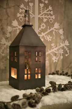 Pretty winter decor with rustic house cancle holder|