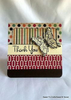 3 x 3 Thank You Note Card w/ Envelope Single  by SwtTsCrafts, $1.25