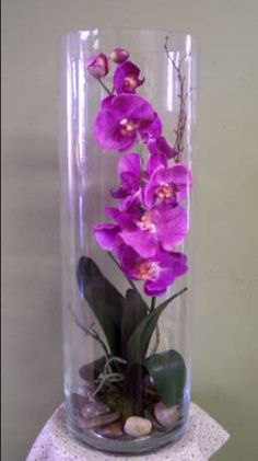 permanent orchid flower arrangement More - Orchid Flower Arrangements, Artificial Floral Arrangements, Artificial Orchids, Vase Arrangements, Orchid Plants, Flower Vases, Flower Pots, Orchid In Vase, Phalaenopsis Orchid