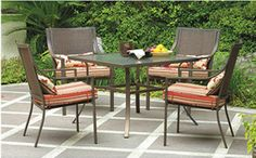 Create an outdoor oasis by adding the  Square 5-Piece Patio Dining Set, Red Stripe with Butterflies to your patio or backyard. Each piece features a durable, powder-coated steel frame to help keep it looking new season after season. This 5-piece dining set comes with a glass top table and four chairs with patterned, polyester-filled cushions.