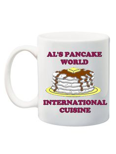 What will Al be serving today? We know it won't be pancakes! Grab your mug and head on over to AL's to see what amazing (poorly tasting) international cuisine he's whipped up today!  ☆ Mug holds 11oz of liquid.  ☆ Mug is Dishwasher and Microwave safe. ~~~~~~~~~~~~~~~~~~~~~~~~~~~~~~~~~~~~~~~~~~~~~~~~~~~~~~~~~~~~~~~~~~~~~~~  ♥ Gift Wrap:  Did you know that all of our coffee mugs come gift-wrap ready?! All mugs arrive packaged in adorable gold boxes and are wrapped up in polka dotted paper! No…