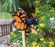 Wind Spinner Butterfly Monarch Whirligig Handcrafted Wood Lawn & Garden  #ZacAndMollysLLC
