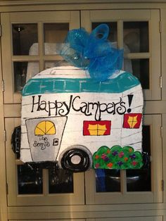 Happy Campers Burlap Door Hanger Finished with Mesh Bow. Can be personalized on… Burlap Door Hangings, Burlap Art, Painting Burlap, Burlap Signs, Burlap Crafts, Wood Crafts, Fun Crafts, Tole Painting, Burlap Projects