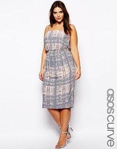 ASOS CURVE Exclusive Cami Dress In Sketchy Print In Longer Length
