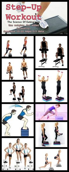 The weighted Step Up exercise is a simple and effective way to build leg strength & power without placing excessive stress on the knees, hips or back. Step ups are great for both beginners and elite a (Step Workout Cardio) Step Up Workout, Workout Ideas, Step Aerobic Workout, Dumbbell Workout, Zumba, Crossfit, Step Aerobics, Cardio, Gym Workouts