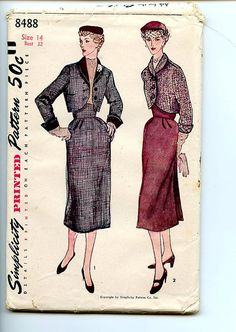 Love the wide, high-waisted waistband on the skirt with the short bolero. Vintage 1950s Simplicity Sewing Pattern by VioletCrownEmporium, $19.00