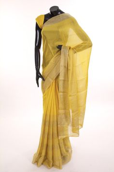 Mysore Crepe- crepe sunflower yellow saree with blouse