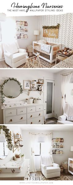 All white boho girl's nursery interior with decorative greenery, vintage room decor and modern Herringbone removable wallpaper from Livette's Wallpaper. Best Picture For girl nurseries farmhouse For Y Girl Nursery Themes, Baby Nursery Decor, Girl Nurseries, Boho Nursery, Baby Girl Rooms, Safari Theme Nursery, Modern Nurseries, Baby Girl Nursery Decor, Nursery Ideas