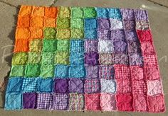 Love this rainbow rag quilt...