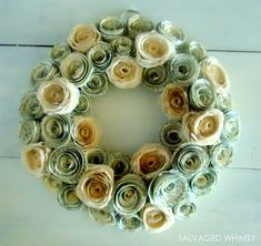 Wreath with rosettes - made from dyed book pages and coffee filters