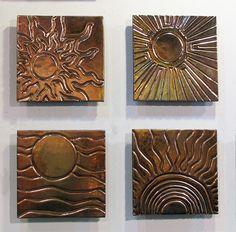 "Four Suns - Carved 12""x12"" Tile Mural from Jason Messinger"