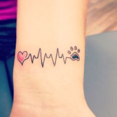 Heart heartbeat dog paw tattoo on wrist (Dog dogs puppy love ideas ink tattoos)