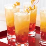 Island Sunset Cocktail - 1 cup cranberry juice; 1 cup orange juice; 1 liter bottle orange-flavored seltzer; 8 ounces darm rum; pineapple juice - Fill 8 tall glasses with ice. Layer each glass with 2 ounces of cranberry juice & 2 ounces orange juice. Add 1 ounce rum into each glass then top with seltzer water until almost full. Add a splash of pineapple juice to the top & serve with a citrus garnish.  facebook.com/theveggiegoddess