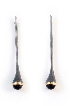 Kika Alvarenga, Brazil: Gota Earrings - Silver | Gold | Cognac Quartz