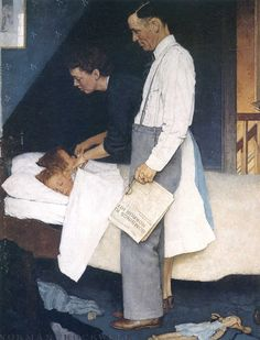 Norman Rockwell and his Paintings | Cuded Freedom from Fear, 1943 The last of the Four Freedoms paintings. This paining addresses the World War II directly, since the scene shows parents tucking in their children, while outside The Blitz, strategic bombing of the United Kingdom by Nazi Germany, is raging.