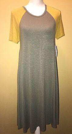 LuLaRoe Carly XS Dress Mustard Yellow Army Olive Green Pocket New Raglan  | eBay
