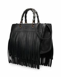 Gucci Bamboo Leather Fringe Shopper Tote Bag, Black - Neiman Marcus