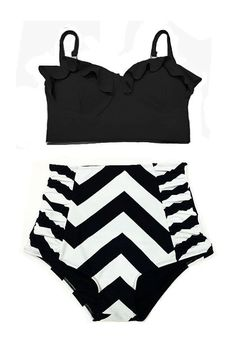 Black Midkini Top and Chevron W/B Highwaisted High by venderstore, $39.99