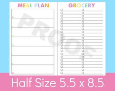 Weekly Meal Planner Printable.  Download and print as many as you want.  Space for each day of the week to write down what meals you want to make.  Space on the right to use as your grocery list.