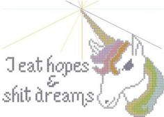 mature cross stitch pattern Unicorn I Eat Hopes and Dreams. $5.00, via Etsy.