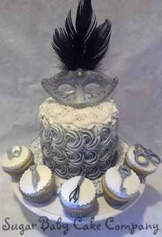 50 Shades of Grey Themed Cake and Cupcakes