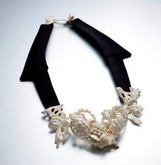 Serin Oh -    no.2011-26  Necklace, 925silver, cloth, 17.7x25x3.5cm, 2011