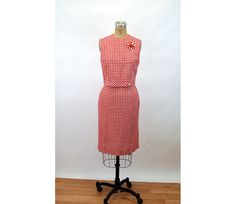1960s gingham red white skirt cropped top ensemble set button