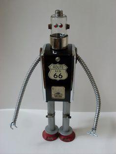 ROBOT METAL SCULPTURE Steampunk Vintage by GrillesGearsAndStuff, $249.99