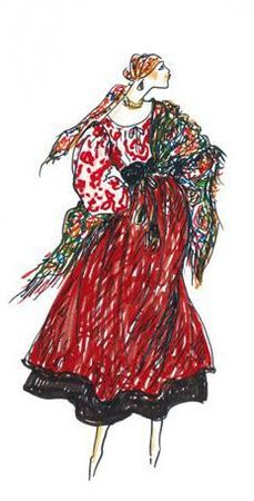 1976: YSL Sketch. 'Ballets Russes' collection.