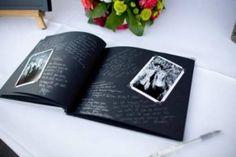 Livro de visitas inspirado nos álbuns de fotos antigas. Foto: via Organiser un Mariage