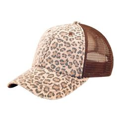 Low Profile Canvas Leopard Print Mesh Trucker Cap (Various Colors) at Amazon Women's Clothing store: Baseball Caps