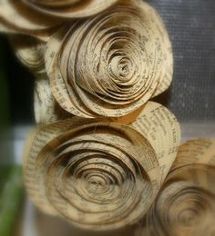 Paper Rose Wreath...these look great as individual roses on presents wrapped in brown paper and string...a great use for paperbacks falling apart!