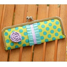 Kisslock Frame Wallet with Green and Turquoise Blue by kailochic, $34.00